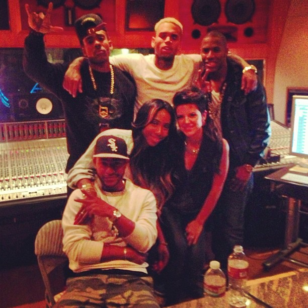 chris brown in studio