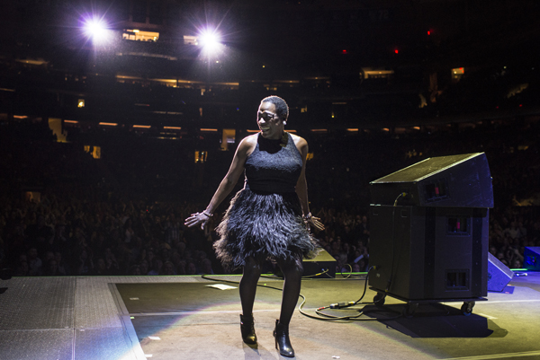 NEW YORK, NY - February 19, 2016 - Sharon Jones and the Dap-Kings perform at Madison Square Garden in an opening set for Daryl Hall and John Oates.